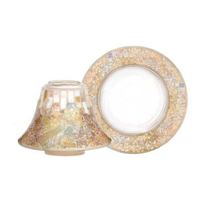 Gold & Pearl Crackle nagy búra és tányér