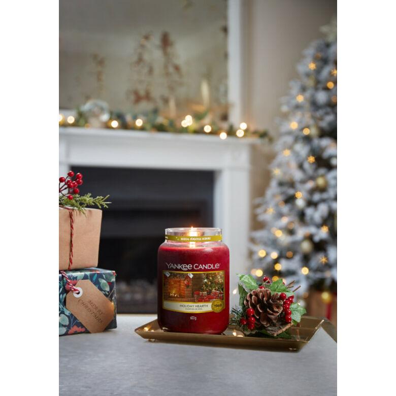Holiday Hearth nagy üveggyertya